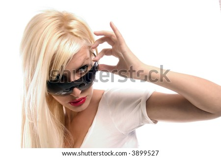 portrait of blond girl with sun glasses - stock photo