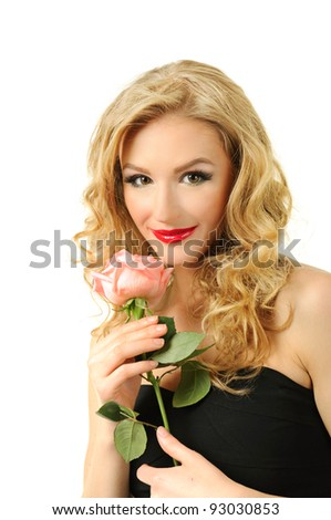 Portrait of blond long hair girl with pink rose - stock photo