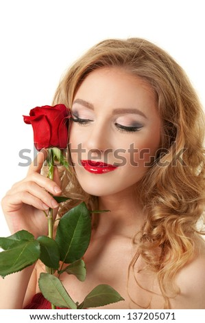 Portrait of blond long hair girl with red rose - stock photo