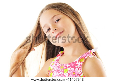 Portrait of blond small girl on white background