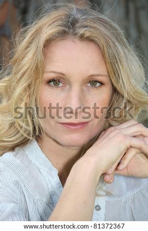 Portrait of blond woman - stock photo