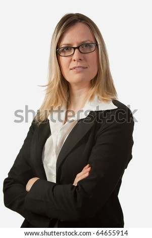 Portrait of blond woman in business suit with arms crossed wearing eyeglasses