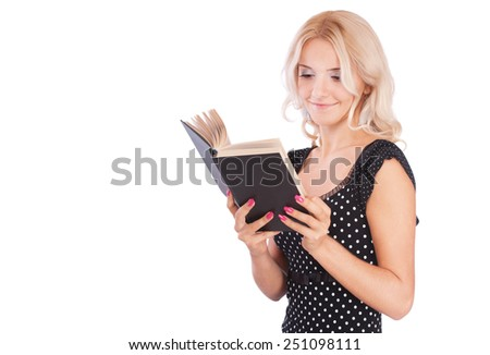 portrait of blonde girl with book on white - stock photo