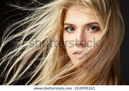 Blonde Girl Hairstyle : Portrait blonde girl flying hair on stock photo 381122680