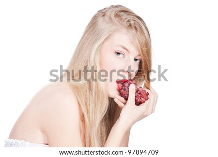 portrait of blonde girl with red rubies