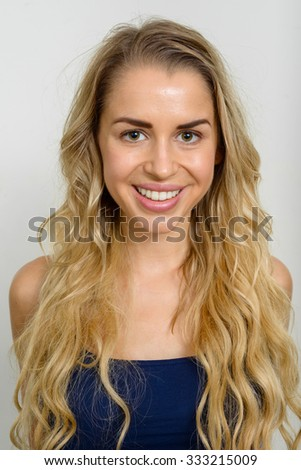 Portrait of blonde woman smiling