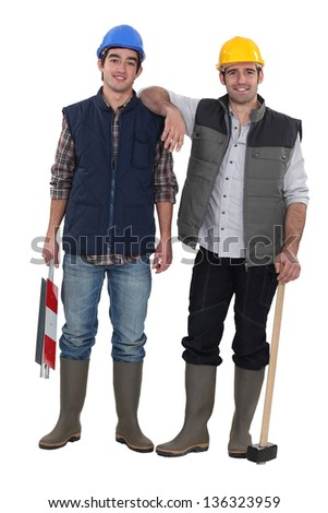 Portrait of blue collar workers - stock photo