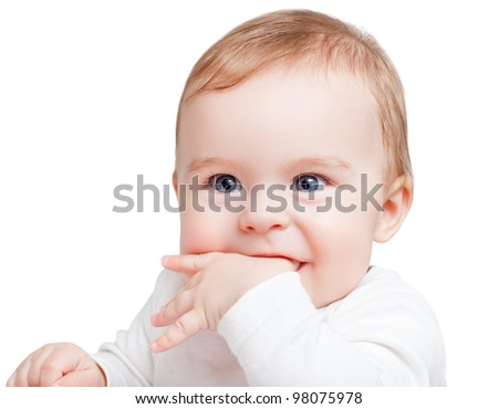 Portrait of blue-eyed baby - stock photo
