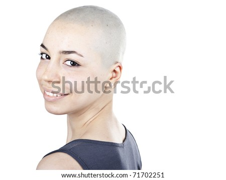 Portrait of bold woman on a white background