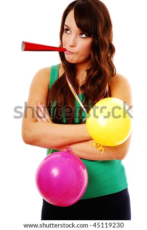 Portrait of bored girl at party isolated on white - stock photo