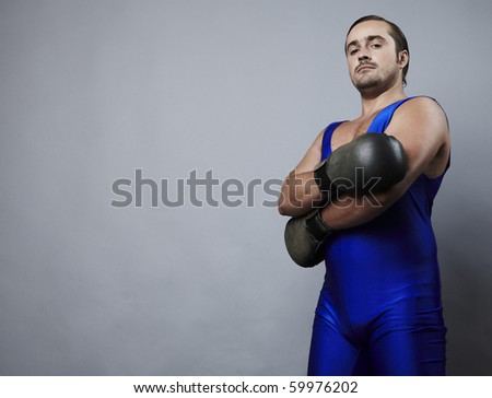 Portrait of boxer stylised under olden time - stock photo
