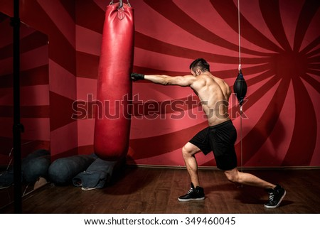Portrait of boxer training with gloves and shirtless. Boxing Training - stock photo