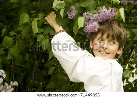 portrait of boy dressed in polish folk clothing - stock photo