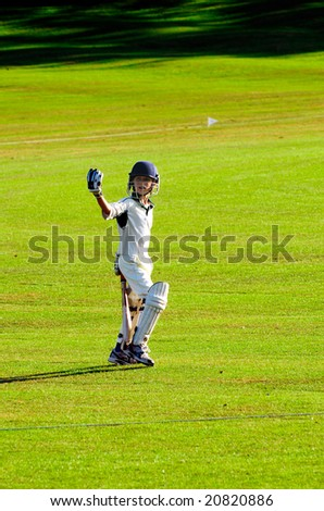 portrait of boy going to bat in game of cricket - stock photo