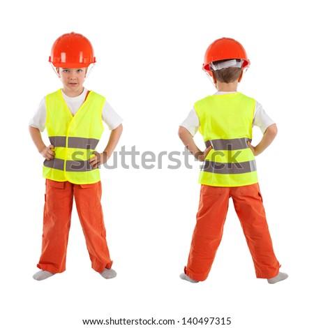 Portrait of boy in orange helmet - stock photo