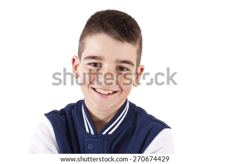 portrait of boy smiling on white background