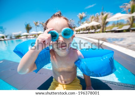 Portrait of boy wearing  goggles - stock photo