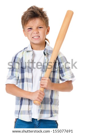 Portrait of boy with bruise and wooden baseball bat, isolated on white background - stock photo