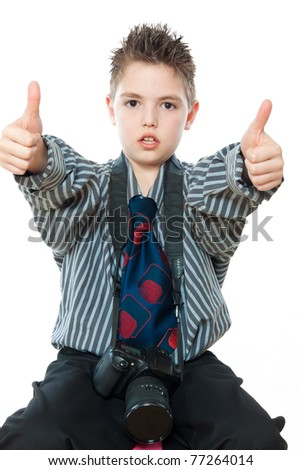 portrait of boy with camera isolated on white - stock photo