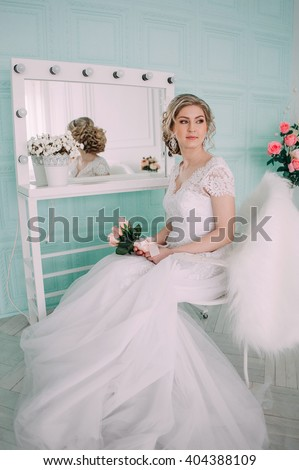 Portrait of bride in flower decor, studio photo. Beautiful Bride portrait wedding makeup and hairstyle, fashion bride model jewelry and beauty girl face, gorgeous beauty bride, studio, flower series - stock photo