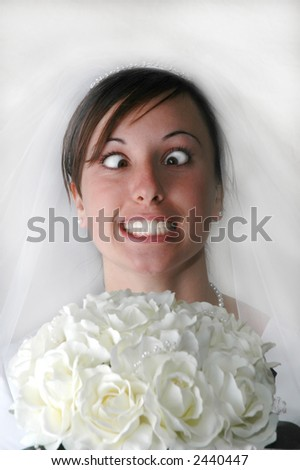 Portrait of Bride Stressing out - stock photo