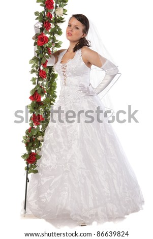 portrait of bride with flowers, isolated on white - stock photo