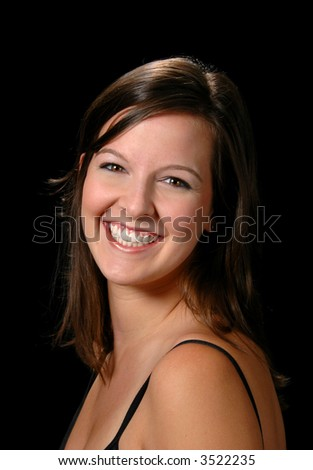 Portrait of brunette woman smiling