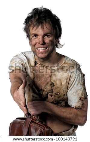 Portrait of burnt man over white background - stock photo