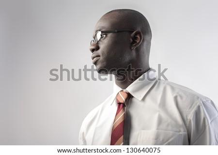 portrait of business black man - stock photo