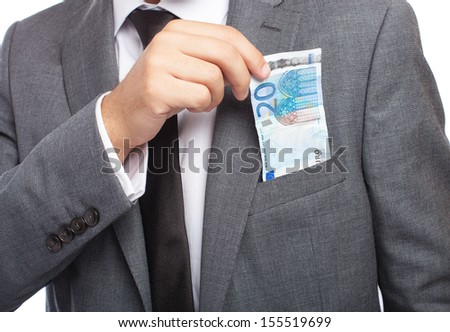 portrait of business man holding an euro banknote on a white background - stock photo