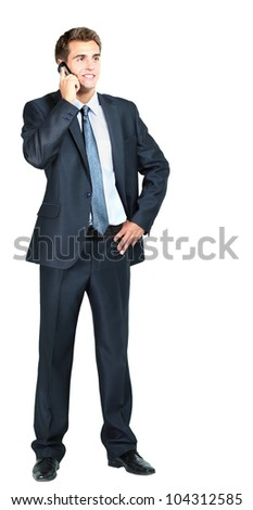portrait of business man with mobile phone - stock photo