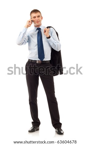 portrait of business man with mobile phone. isolated on white background - stock photo