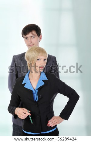 Portrait of business men and women in the office. - stock photo