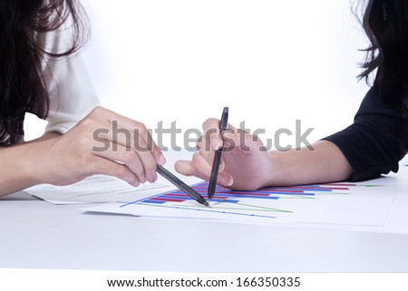 Portrait of business partner discussing the results of the work. Isolated on white background - stock photo