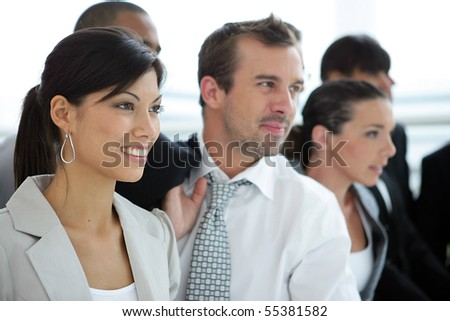 Portrait of business people in suit - stock photo