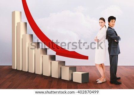 Portrait of business people standing back-to-back against clouds in a room - stock photo