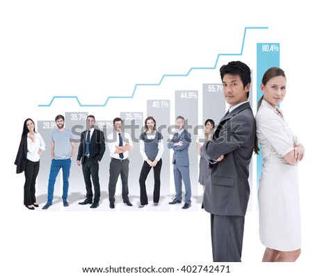 Portrait of business people standing back-to-back against graph - stock photo