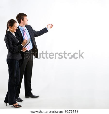 Portrait of business people standing on a white background - stock photo