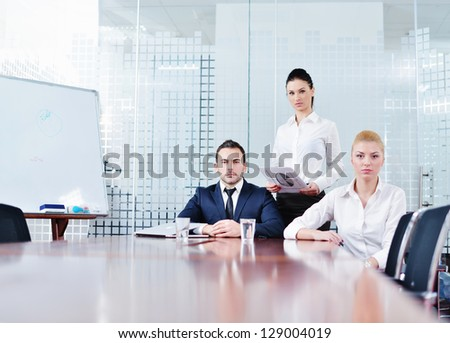 portrait of business people  team  group at modern bright office - stock photo