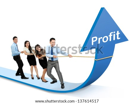 portrait of business team pulling up bar using rope. growth profit chart concept