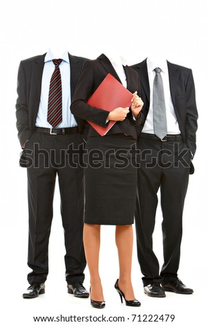Portrait of business team�s heads not visible - stock photo