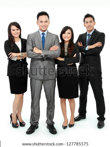 Portrait of business team smiling isolated on white background - stock photo