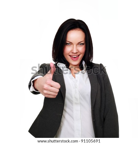 Portrait of  business woman giving thumbs up gesture over white background - stock photo