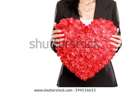 portrait of Business woman hand with red heart isolated on white