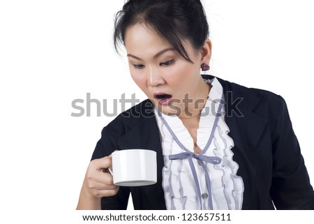 Portrait of business woman hold cup of coffee, isolated over white background - stock photo