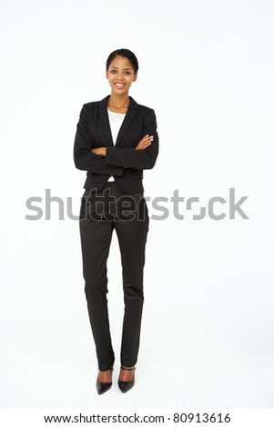 Portrait of business woman in suit - stock photo