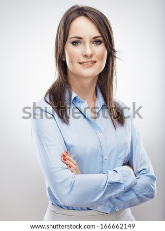 Portrait of business woman . Isolated portrait . - stock photo