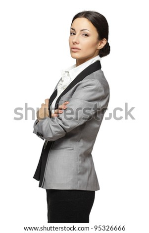 Portrait of business woman standing with folded hands, isolated on white background
