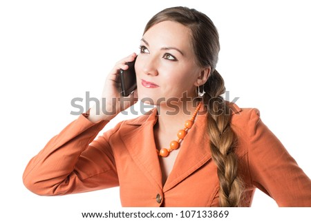 Portrait of business woman talking on a mobile phone on a white background - stock photo