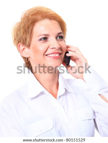 Portrait of business woman talking on the phone over white background